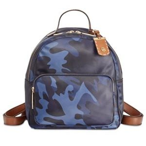 Tommy Hilfiger Blue Camo Dome Backpack Purse